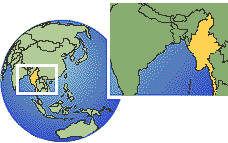 Myanmar time zone location map borders