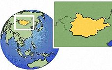 (oriental y central), Mongolia time zone location map borders