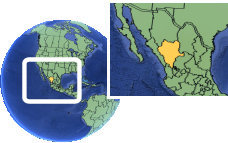 Durango, México time zone location map borders
