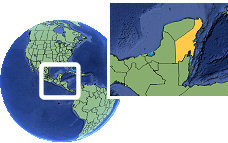 Chetumal, Quintana Roo, Mexico time zone location map borders
