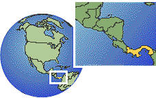 Panamá time zone location map borders