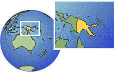 Papua New Guinea time zone location map borders