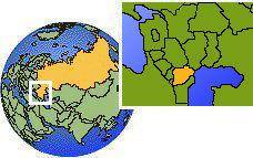 Chechenia, Rusia time zone location map borders