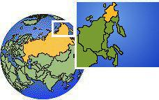 Chukotka, Rusia time zone location map borders