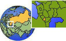 Ingusetia, Rusia time zone location map borders