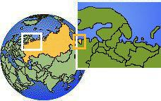 Kaliningrad, Russia time zone location map borders