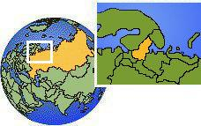 Petrozavodsk, Carelia, Rusia time zone location map borders