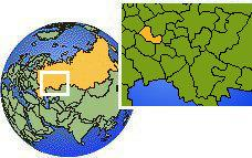 Saransk, Mordovia, Rusia time zone location map borders