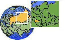 Novosibirsk, Rusia time zone location map borders