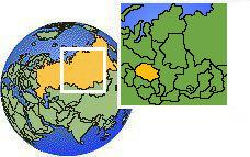Tomsk, Rusia time zone location map borders