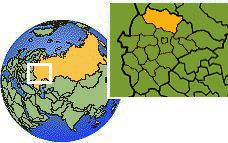 Tver, Rusia time zone location map borders