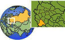 Voronezh, Russia time zone location map borders