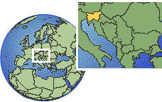 Eslovenia time zone location map borders
