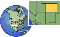 Denver, Colorado, United States time zone location map borders