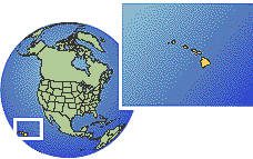 Hawaii, United States time zone location map borders