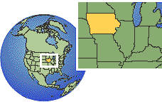 Iowa, United States time zone location map borders