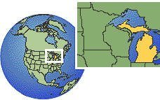 Michigan, United States time zone location map borders