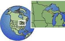 Iron Mountain, Michigan (exception), United States time zone location map borders