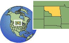 North Dakota, United States time zone location map borders