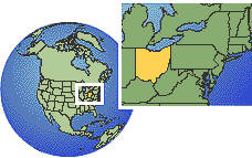 Ohio, United States time zone location map borders