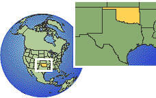 Oklahoma, United States time zone location map borders