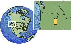 Oregon (exception), United States time zone location map borders