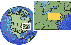 Pennsylvania, United States time zone location map borders