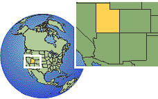 Utah, United States time zone location map borders