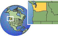Washington, United States time zone location map borders