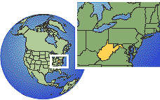 Virginia Occidental, Estados Unidos time zone location map borders
