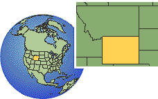 Wyoming, United States time zone location map borders