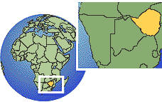 Harare, Zimbabwe time zone location map borders